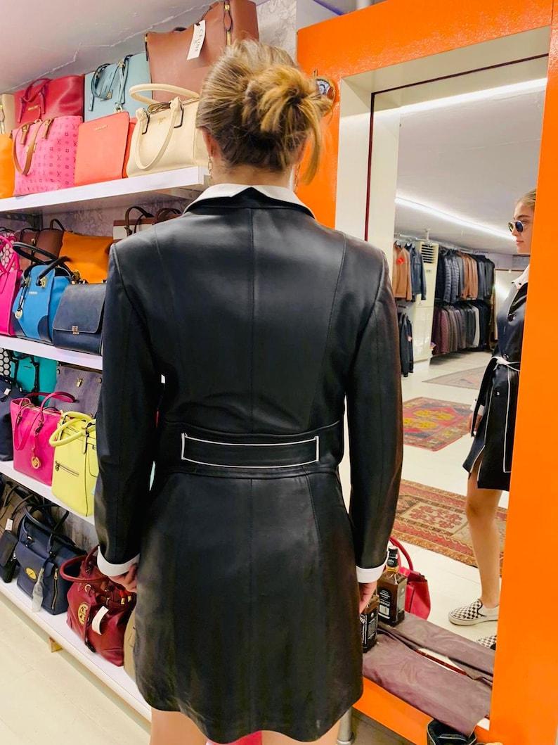 Women/'s 100/% Genuine Leather Coat  Women/'s Lambskin Leather Jacket Handmade Jacket Black Soft Leather Coat with Leather Belt