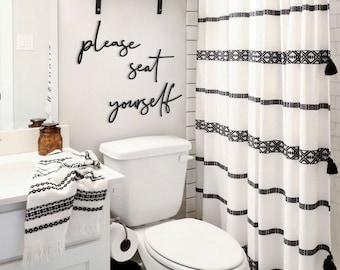 Please Seat Yourself Metal Wall Art for a Modern Bathroom Decor