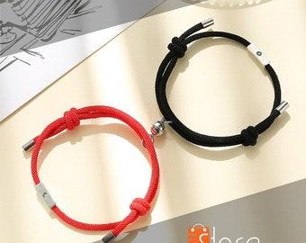 Handmade Romantic Magnetic Couple Bracelet, Long Distance  Matching Bracelet