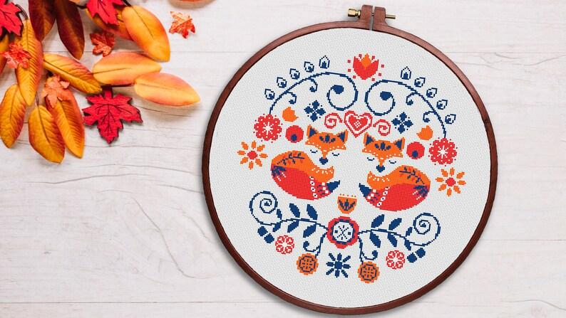 animal easy cross stitch pattern PDF funny Fox| love Vintage gift modern cross stitch pattern