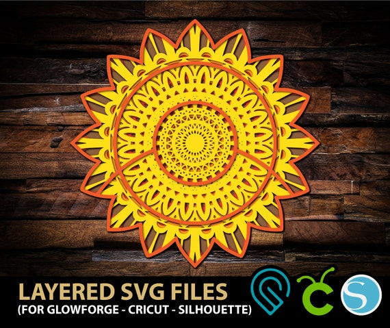 Sunflower Multilayer 3d Mandala Svg Files For Glowforge Laser Etsy