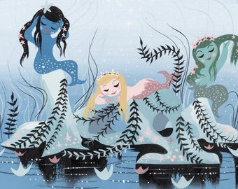 Mary Blair - concept art for Mermaids in Peter Pan animated film (Disney 1953) - Mary Blair print