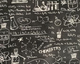Chemistry Blackboard Science Formulas Print Cotton Print Fabric 1/2 yard *Ready to send*