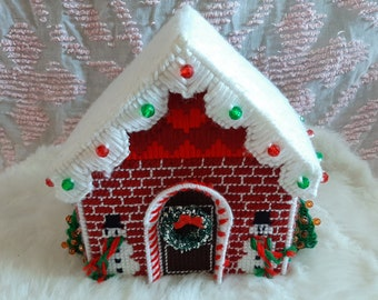 gourmet jewel iced roof red and white lozenges in fimo Pendant or charm small square house in chocolate bread