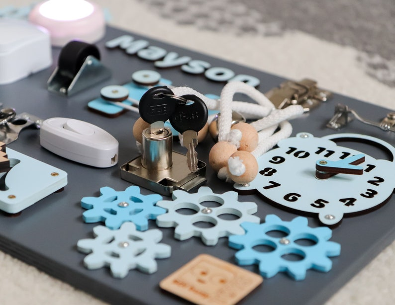 Personal Busy Board Latch Montessori Busy Board with lights Waldorf wooden toy Early development Toddler gift with locks Baby Sensory board