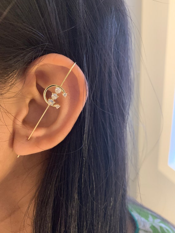 Gold Ear Wrap hook with CZ Modern Cane Ear Climber Edgy Pin Hook Ear Cuff Minimalist Rose Gold CZ Ear Pin Earring