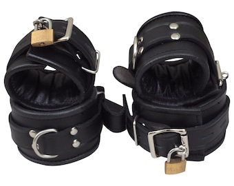 100/% Real Cow Leather Bondage Restraints Cuffs Bdsm for Ankles,Wrists,Thigh,Neck