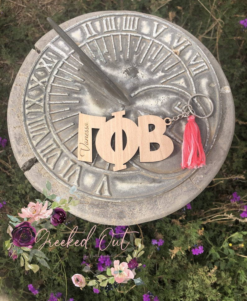 Custom wood greek letter keychain