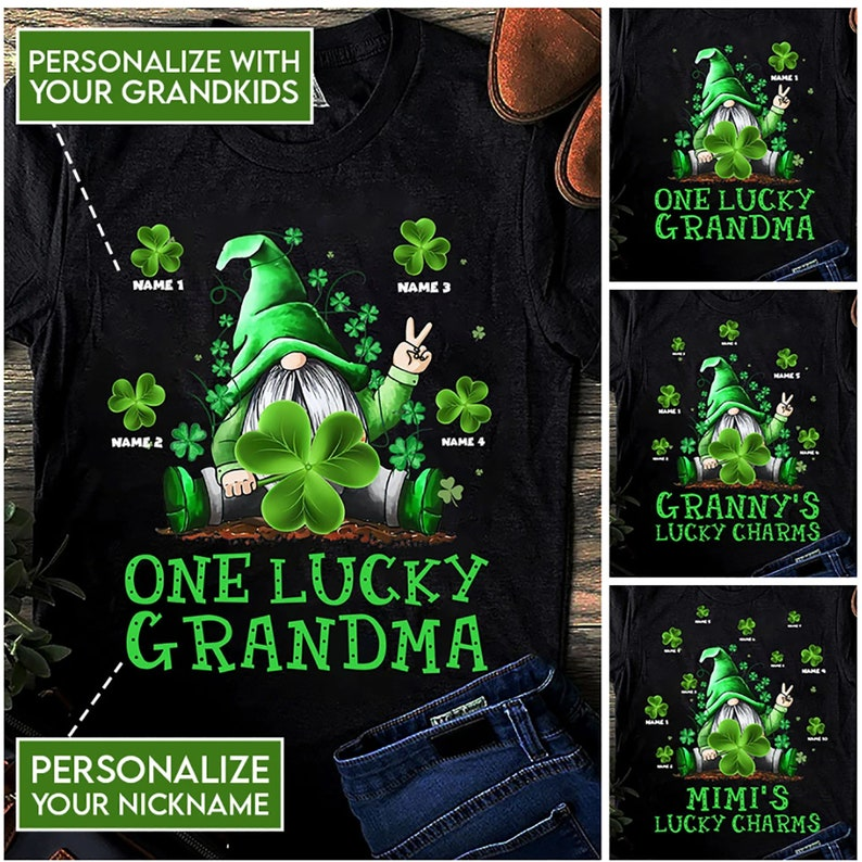 St Patrick/'s Day T-Shirt Gnome T-Shirt Clover Leaf T-Shirt Family T-Shirt Lucky T-Shirt