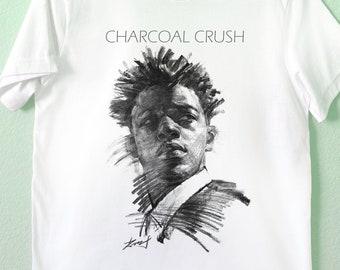 Portrait Tee Artist\u2019s Tee Charcoal Crush:  Unisex T-Shirt Charcoal drawing Tee shirt Black /& White Tee Women Tee Hand Drawing T-shirt
