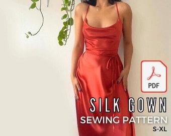 Silk Gown Sewing Pattern PDF S-XL