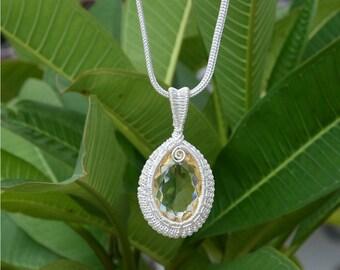 Indian  handmade jewellry  citrine gemstone shining silver plated pendant for men /& women gift Pendant Anniversary gift