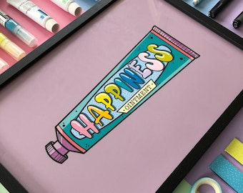 Happiness Ointment | A4 | Mini Print | Art Print | Poster | Wall hanging | Illustration | collectable