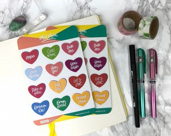 Anti-Love Hearts | Sticker Sheets  | Cute Stationery | Planner stickers | Bullet Journals | Notebook Stickers | Party Bag Fillers | Kawaii