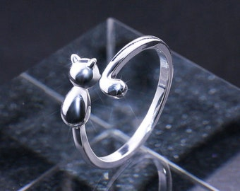 Fun Adjustable 925 Sterling Silver Plated Cute Kitty Sticky Cat Open Tail Ring