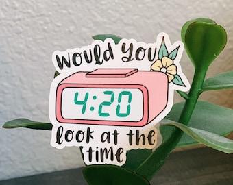 Royal blue white print 420 Alarm Clock shirt