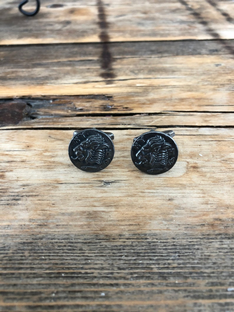 vintage KY H cuff link pair of lion with fish cufflinks lion cuff links Vintage metal cufflinks