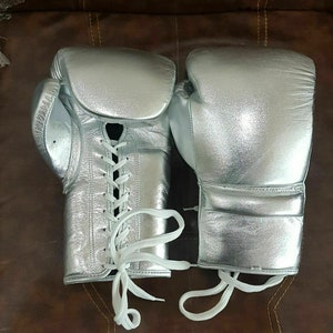 Details about  /New Custom Made Silver Groin Guard Head Gear W1NN1NG Boxing Gloves
