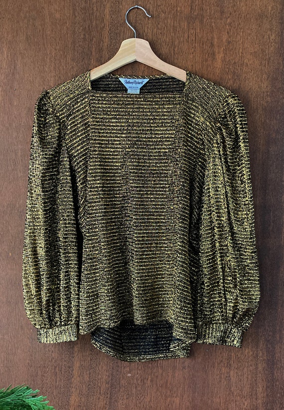 Sparkly Stretchy Gold Puffed Shouldered Cropped T… - image 5