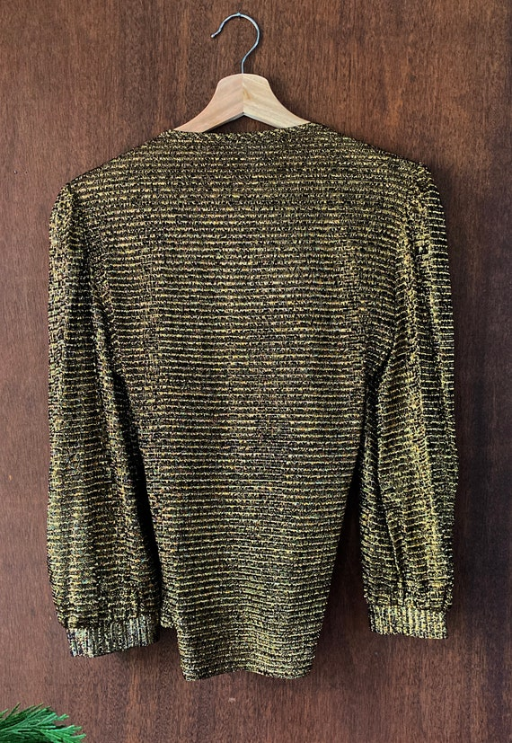 Sparkly Stretchy Gold Puffed Shouldered Cropped T… - image 6