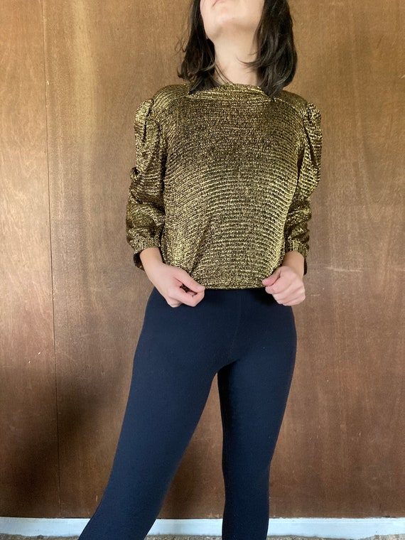 Sparkly Stretchy Gold Puffed Shouldered Cropped T… - image 1