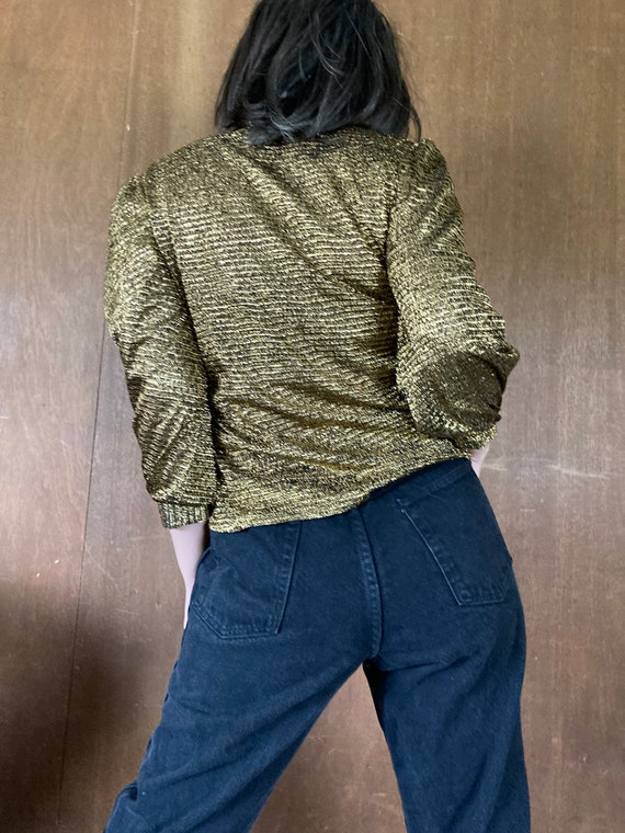 Sparkly Stretchy Gold Puffed Shouldered Cropped T… - image 4