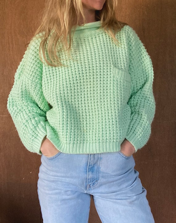 Chunky Knit Mint Cropped Sweater w Front Pocket//S