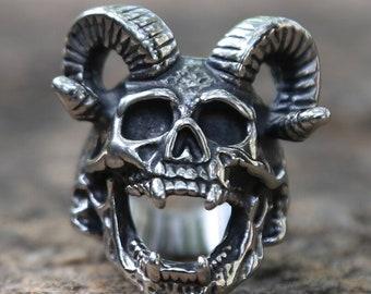 Copper ring-R57AC Brutallist horn pattern,rock style ring Animal zamak ring Animal skull ring Deer Antler silver ring Gazelle ring
