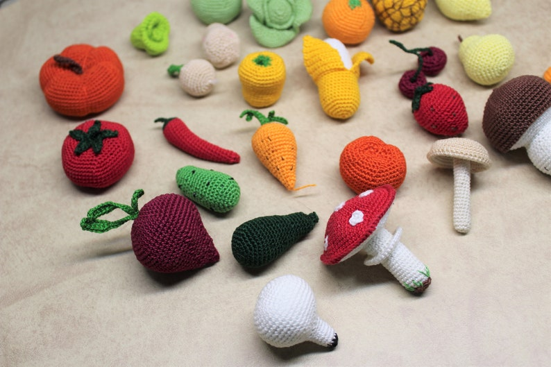Play food crochet vegetables crochet food mushrooms baby girl gift play kitchen food
