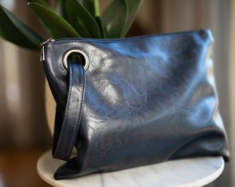 Personalised oversized soft vegan leather clutch with monogram / everyday clutch / navy blue clutch