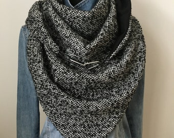 Wrap Scarf Triangle Scarf Scarf Scarf Loop Cloth Salt/Pepper with Carabiners