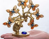 Elephant Butterfly Tree Figurine Blue Evil Eye Tree for Good Luck Wealth Feng Shui Gift Home Decor