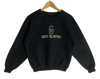 Rare! Vintage Gianni Valentino Long Sleeves Plain Stripes Spellout Pullover Jumper Crewneck Multicolour