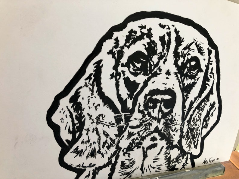 pet illustration painting of pet cat Custom pet portrait sketch in black ink hand painted on canvas board