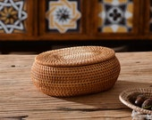 Rattan Woven Round Storage Basket With Cover,Rattan Jewellery Box,Rattan Fruits Box,Rattan Nuts Box,Personalized Natural Gift Box