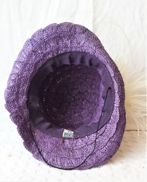 Purple Straw 1940's New York Creations Hat Ivory … - image 6