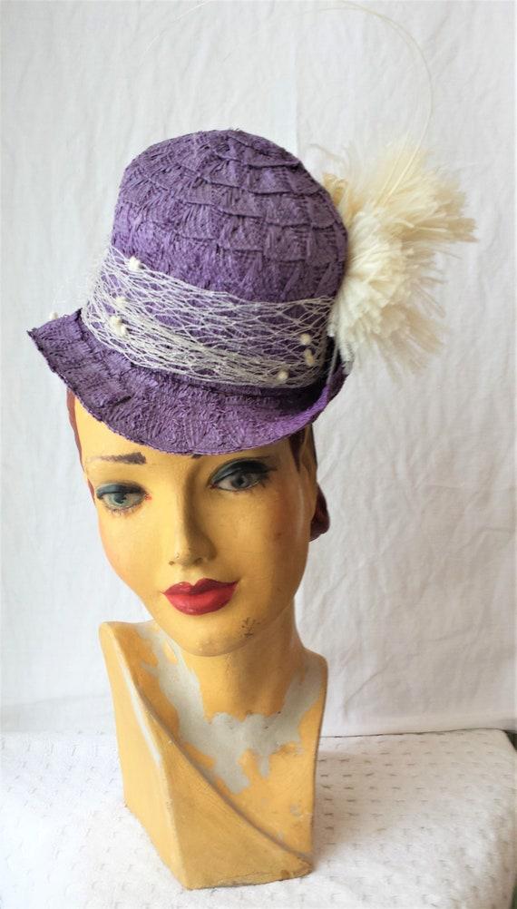 Purple Straw 1940's New York Creations Hat Ivory … - image 3
