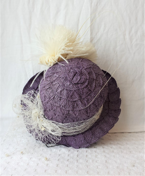 Purple Straw 1940's New York Creations Hat Ivory … - image 8