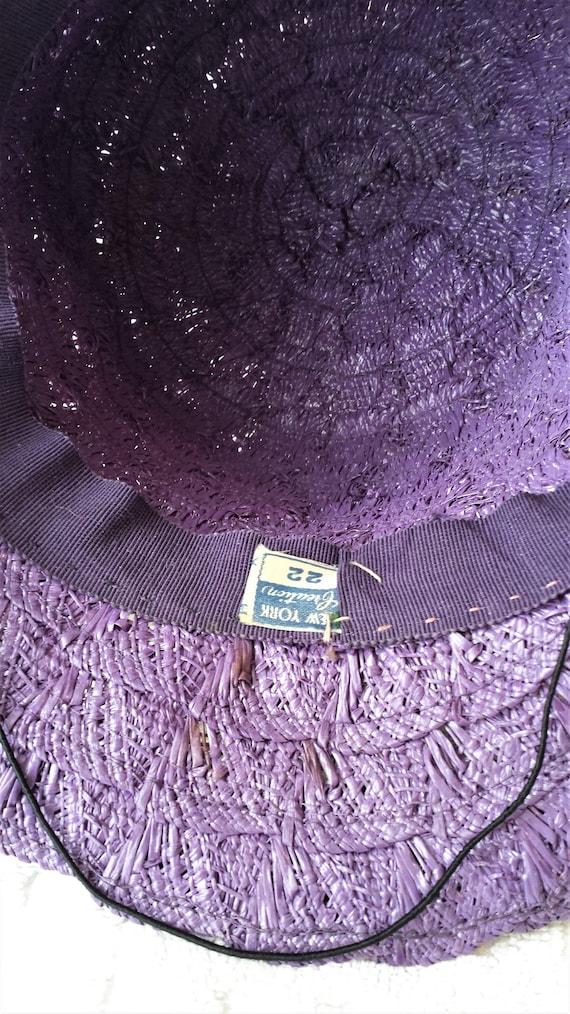 Purple Straw 1940's New York Creations Hat Ivory … - image 7