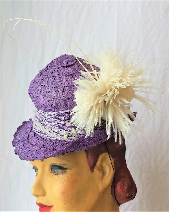 Purple Straw 1940's New York Creations Hat Ivory N
