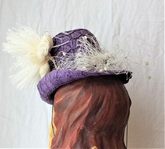 Purple Straw 1940's New York Creations Hat Ivory … - image 4