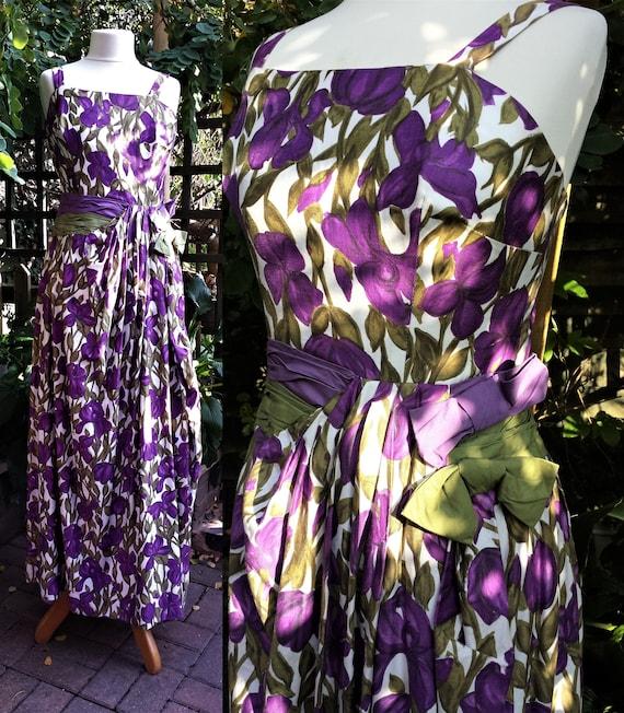 Tea Dress C1940's Purple Green Tulips Cotton Waist
