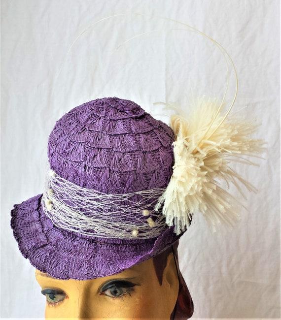 Purple Straw 1940's New York Creations Hat Ivory … - image 2