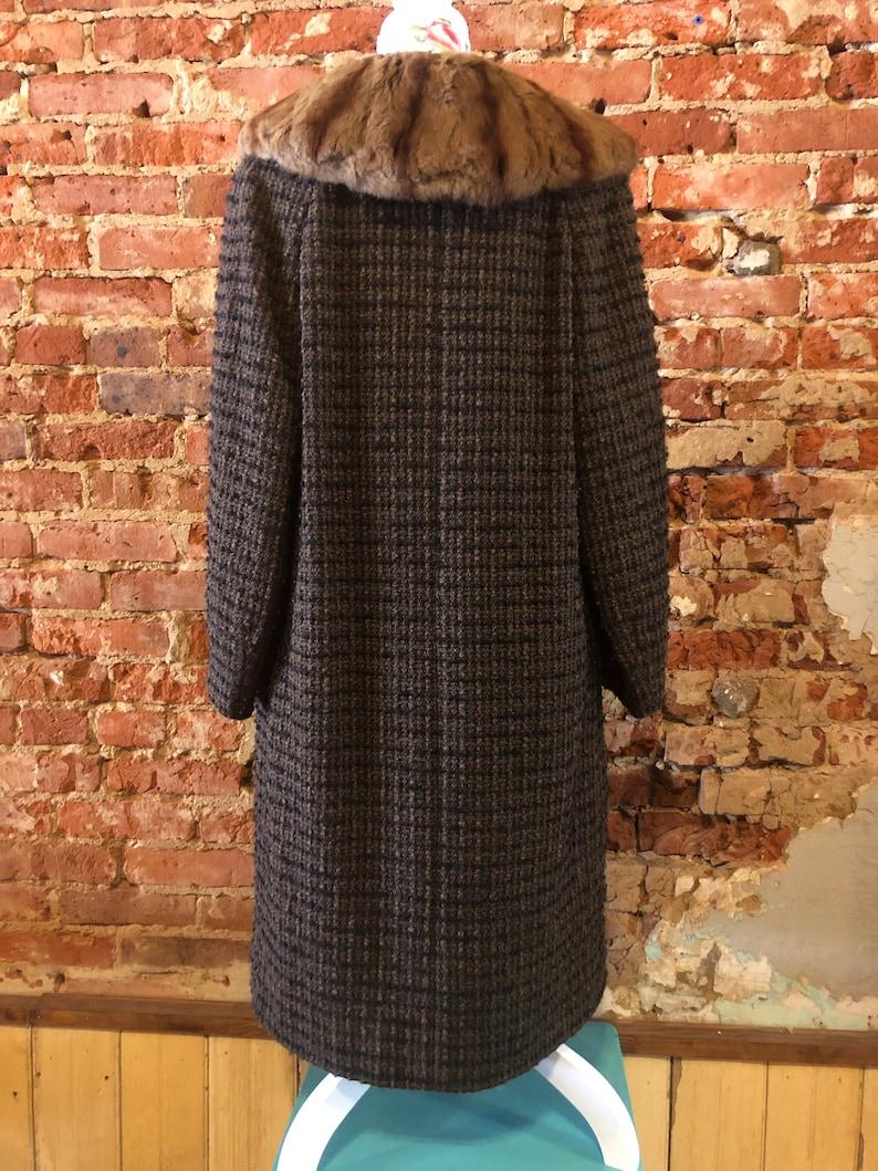 Vintage Barkers of Kensington Tweed Coat  Tweed Coat with Fur Collar  60s Coat  Mod Coat  Retro Coat