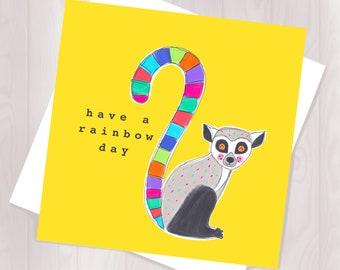 Lemur Rainbow Card - Birthday - Animal Card - Celebration - Children's Birthday - Fun Card