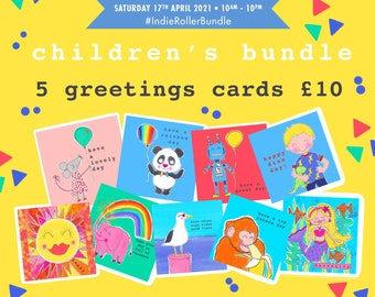 Children's birthday card bundle - greetings cards- special offer - celebration kids cards - pack of 5 cards
