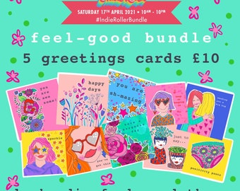 Feel-good greetings card bundle - special offer - celebration card - friendship card - just because card - pack of 5 cards