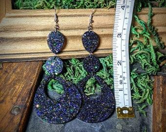 Extra Long / Extra Sassy Black Rainbow Iridescent Glitter Handmade Resin Earrings