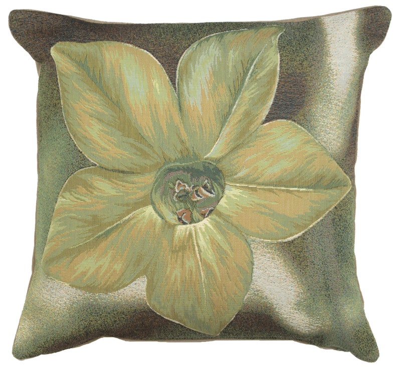 Floral Woven Decorative Pillow Cases Green Star Flower French Tapestry Cushion Cover 19x19 inch Fine Art Jacquard Sofa Pillow Cover