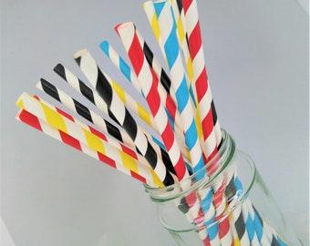 40 x Pink Straws Birthday Party UNICORN Novelty Paper Straws Kids Biodegradable